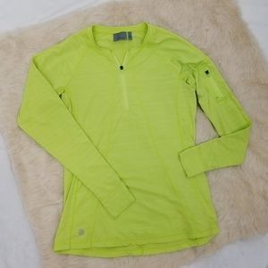 Athleta M Top Pullover Lime Green 1/2 Zip Pocket